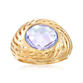 Italian 3.50 Carat Amethyst Swirl Dome Ring in 18kt Yellow Gold, , default
