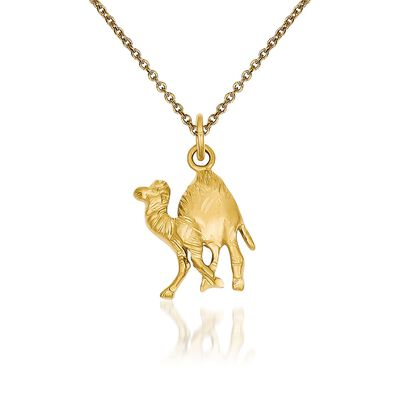 14kt Yellow Gold Camel Pendant Necklace, , default
