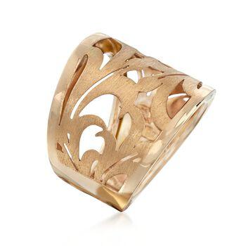 Italian 14kt Yellow Gold Openwork Swirl Ring. Size 7, , default