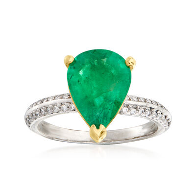C. 2000 Vintage 2.60 Carat Emerald and .15 ct. t.w. Diamond Ring in Platinum and 18kt Yellow Gold