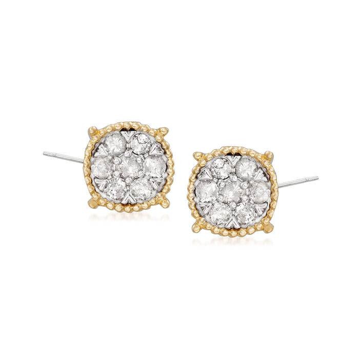 .50 ct. t.w. Diamond Cluster Earrings with Beaded Frame in 14kt Yellow Gold and Sterling Silver, , default