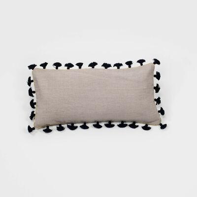 Joanna Buchanan Taupe Linen Black Tassel Mini Lumbar Pillow, , default