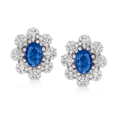 2.00 ct. t.w. Sapphire and 1.00 ct. t.w. Diamond Flower Earrings in 14kt White Gold