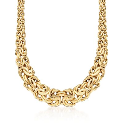 Italian 18kt Yellow Gold Graduated Byzantine Necklace
