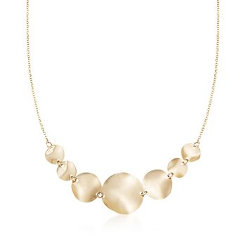 14kt Yellow Gold Graduated Wavy Disc Necklace, , default