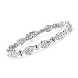 "1.00 ct. t.w. Baguette Diamond Woven-Link Bracelet in Sterling Silver. 7"", , default"