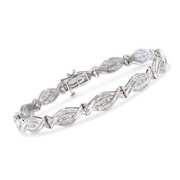 """1.00 ct. t.w. Baguette Diamond Woven-Link Bracelet in Sterling Silver. 7"""", , default"""