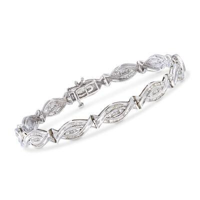 1.00 ct. t.w. Baguette Diamond Woven-Link Bracelet in Sterling Silver, , default