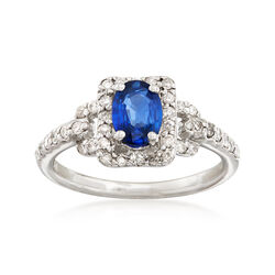 1.00 Carat Sapphire and .40 ct. t.w. Diamond Ring in 14kt White Gold, , default