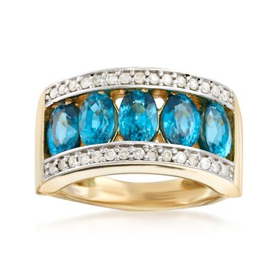 3.90 ct. t.w. Blue Zircon and .24 ct. t.w. Diamond Ring in 14kt Yellow Gold, , default