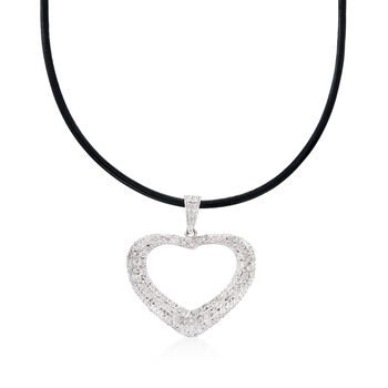 """Diamond Heart Pendant Necklace in Sterling Silver on Black Leather Cord. 18"""", , default"""