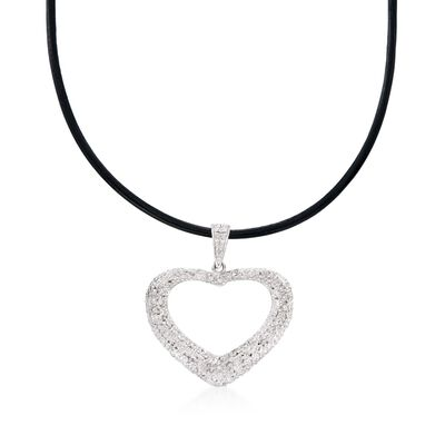 Diamond Heart Pendant Necklace in Sterling Silver on Black Leather Cord, , default