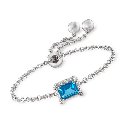 Swarovski Crystal 1.66 ct. t.w. Blue and White Topaz Bolo Bracelet in Sterling Silver, , default