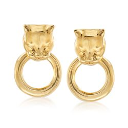 Italian Andiamo 14kt Yellow Gold Panther Head Doorknocker Earrings, , default