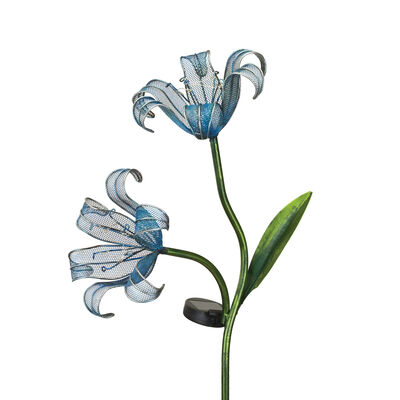 "Regal ""Double Lily"" Set of 2 Blue Solar Garden Stakes"