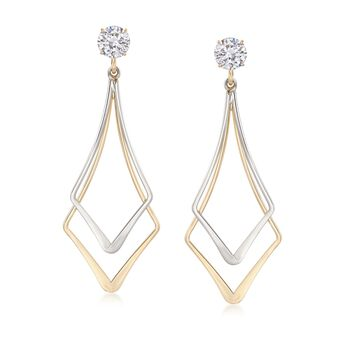 14kt Two-Tone Gold Open-Space Double Kite-Shaped Earring Jackets, , default