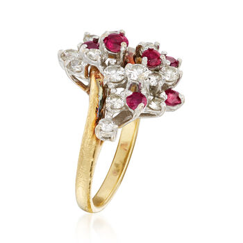 C. 1980 Vintage .75 ct. t.w. Ruby and .75 ct. t.w. Diamond Cluster Ring in 18kt Yellow Gold. Size 6.5, , default