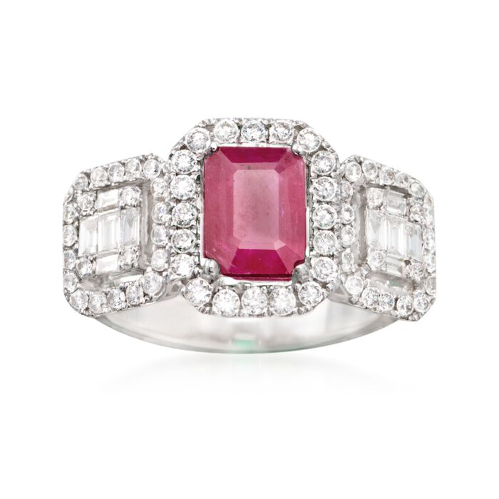 1.30 Carat Ruby and .90 ct. t.w. Diamond Ring in 18kt White Gold, , default