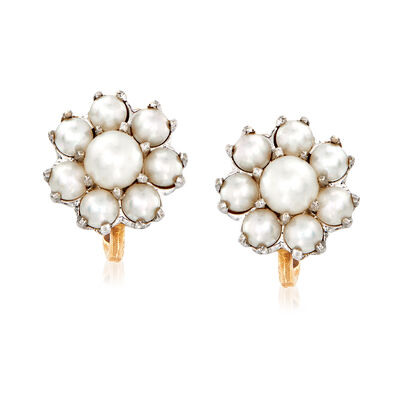 C. 1950 Vintage 3.5-5.5mm Cultured Pearl Cluster Earrings in 10kt Two-Tone Gold, , default