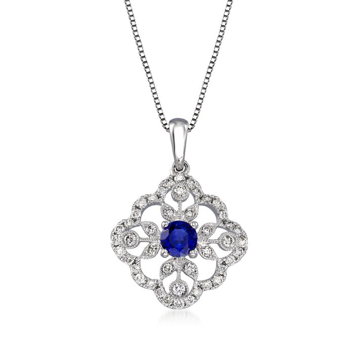 .20 Carat Sapphire and .34 ct. t.w. Diamond Pendant Necklace in 14kt White Gold