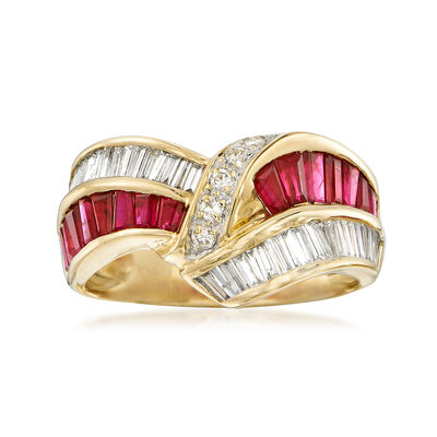 C. 1980 Vintage 1.45 ct. t.w. Diamond and 1.44 ct. t.w. Ruby Crisscross Ring in 18kt Yellow Gold, , default