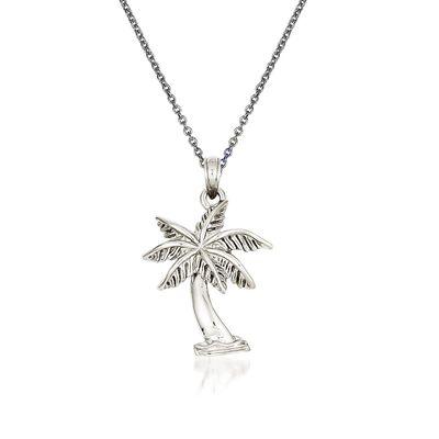 14kt White Gold Palm Tree Pendant Necklace, , default