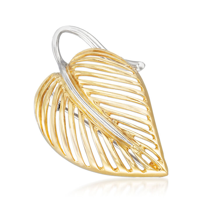 C. 1990 Vintage 18kt Two-Tone Gold Openwork Leaf Pin