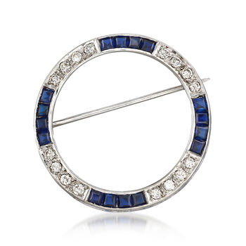 C. 1970 Vintage 1.60 ct. t.w. Sapphire and .50 ct. t.w. Diamond Circle Pin in 14kt White Gold