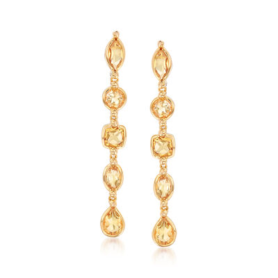 4.10 ct. t.w. Citrine Drop Earrings in 18kt Yellow Gold Over Sterling Silver, , default