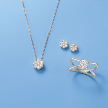 .20 ct. t.w. Diamond Crisscross Ring in 14kt White Gold