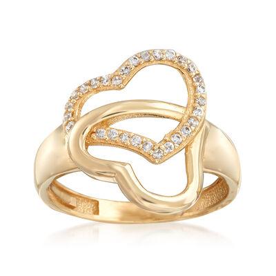 .14 ct. t.w. CZ Interlocking Hearts Ring in 14kt Yellow Gold, , default