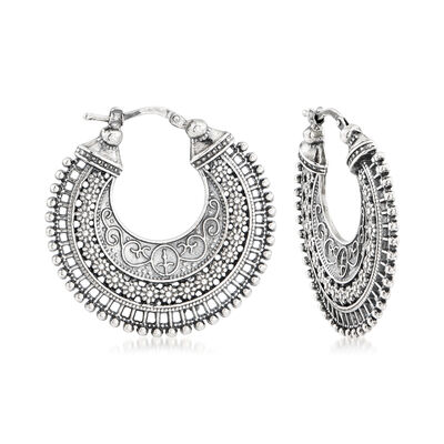 Italian Sterling Silver Embellished Hoop Earrings