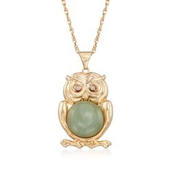 "Green Jade Owl Pendant Necklace With Diamond Accents in 18kt Gold Over Sterling. 18"", , default"