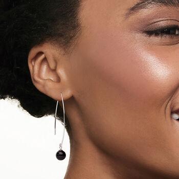 Black Onyx Threader Drop Earrings in Sterling Silver, , default