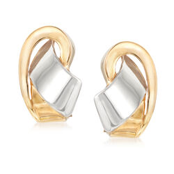 C. 2000 Vintage 14kt Two-Tone Gold Twist Earrings, , default