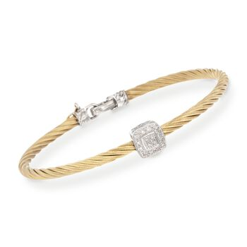 "ALOR ""Classique"" Yellow Cable Station Bracelet With Diamond Accent and 18kt White Gold. 7"", , default"