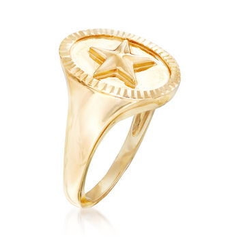 14kt Yellow Gold Star Signet Ring