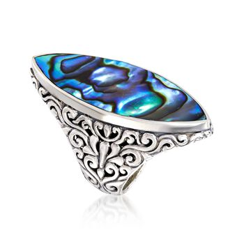 Abalone Shell Bali-Style Ring in Sterling Silver, , default