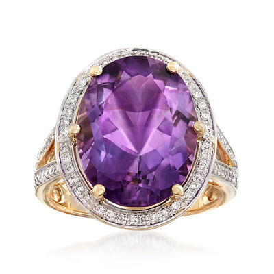 7.70 Carat Oval Amethyst and .28 ct. t.w. Diamond Ring in 14kt Yellow Gold, , default