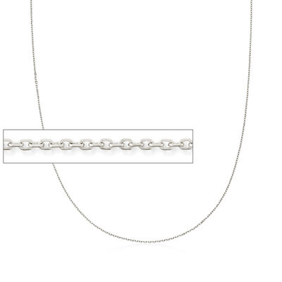 1.1mm 14kt White Gold Cable Chain Necklace, , default
