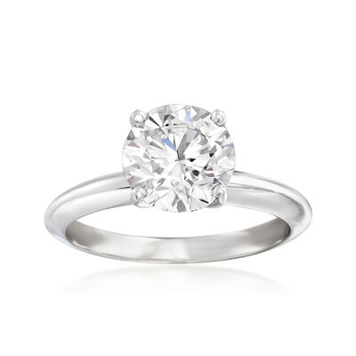 2.00 Carat Certified Diamond Solitaire Engagement Ring in Platinum, , default