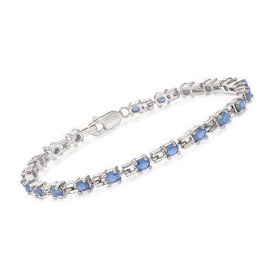 3.80 ct. t.w. Sapphire Link Bracelet in Sterling Silver