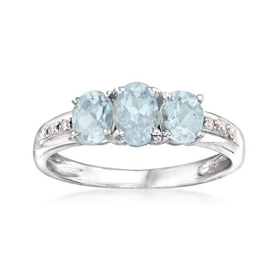 1.00 ct. t.w. Aquamarine Ring with Diamond Accents in Sterling Silver