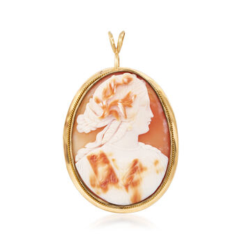 C. 1960 Vintage Pink Shell Cameo Pin/Pendant Necklace in 14kt Yellow Gold. 18""