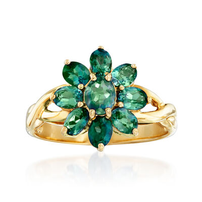 C. 1980 Vintage 1.50 ct. t.w. Chrysoberyl Flower Ring in 14kt Yellow Gold, , default