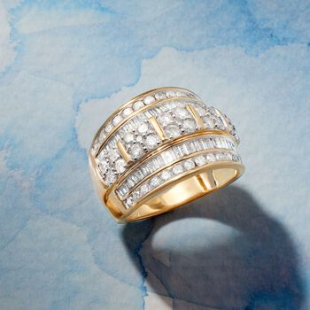 2.00 ct. t.w. Round and Baguette Diamond Multi-Row Ring in 18kt Gold Over Sterling, , default