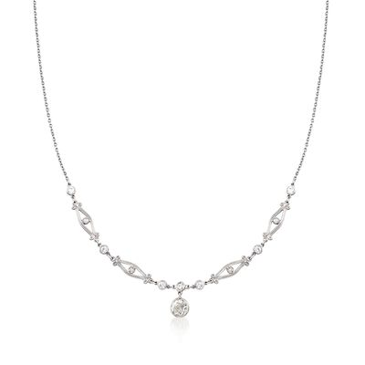 C. 1970 Vintage .85 ct. t.w. Diamond Drop Necklace in Platinum, , default