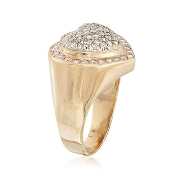 C. 1980 Vintage 1.30 ct. t.w. Diamond Heart Ring in 14kt Yellow Gold. Size 10.5, , default