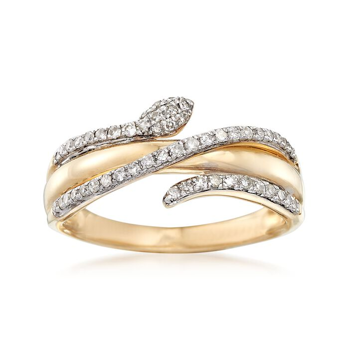 .28 ct. t.w. Diamond Snake Ring in 14kt Yellow Gold, , default