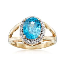 4.10 Carat Blue Zircon and .14 ct. t.w. Diamond Ring in 14kt Yellow Gold, , default